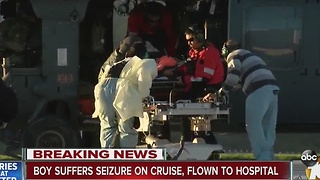 Boy suffers seizure on cruise, flown to hospital - Video