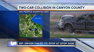 Two-car crash in Canyon County sends six to hospital