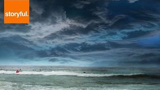 Ocean View of Thunderstorm Rolling in From French Coast - Video