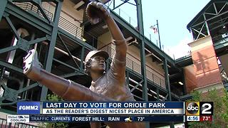 Last day to vote for Oriole Park for 'Nicest Place in America' - Video