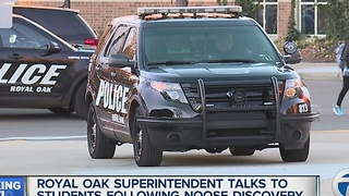 Royal Oak superintendent talks to students following noose discovery - Video