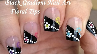 Black Gradient French Tip Nails Wtih Flowers