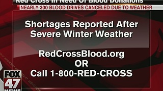 Nearly 300 blood drives canceled due to weather - Video