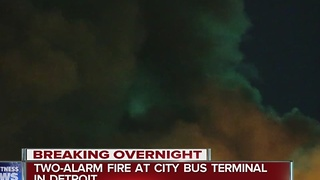 Two alarm fire at bus terminal in Detroit - Video