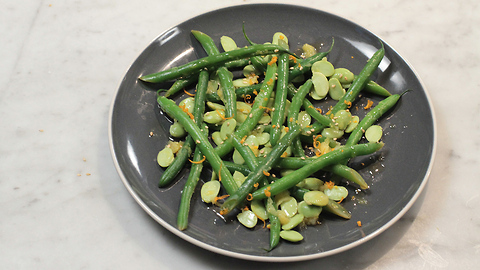 Edamame and green beans with orange and ginger