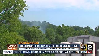 Firefighters respond to mulch fire in West Baltimore - Video