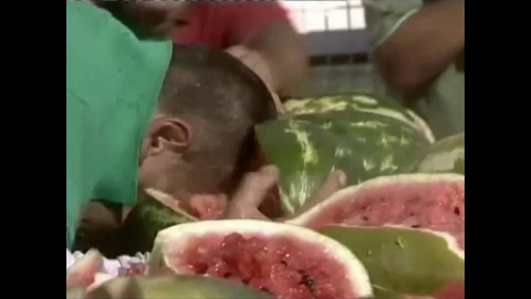 Man Smashes 40 Melons with Head