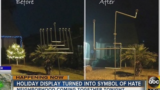 Menorah in Chandler family's yard twisted into swastika - Video