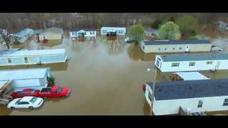 Drone Footage Shows Severe Flooding in Bossier Parish, Louisiana - Video