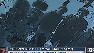 CAUGHT ON CAMERA: Five people work together ripping off nail salon - Video