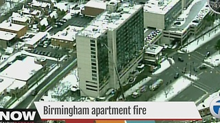 Fire at Birmingham apartment building - Video