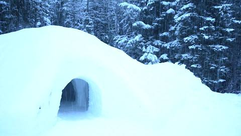 How to build a snow cave in three minutes