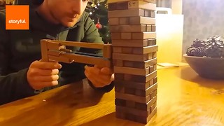 Man Creates Extreme Version of Jenga - Video
