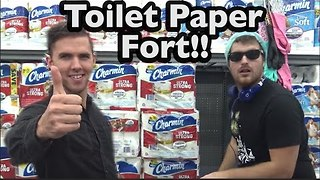 These Guys Build the Most Epic Toilet Paper Fort in Walmart - Video