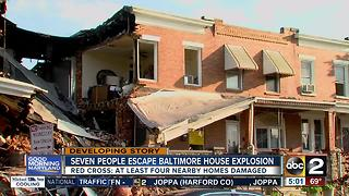 Seven people escape house explosion in Baltimore Highlands - Video