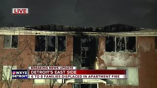 Families displaced after apartment fire on Detroit's east side - Video