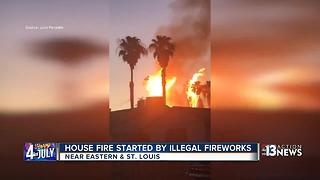 Illegal fireworks suspected in Las Vegas house fire - Video