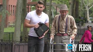 Rapper disguised as old man raps in Harlem, NY - Video