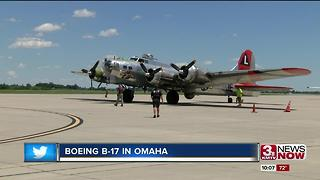 B-17 Bomber flying over Omaha - Video