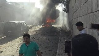 Car Bomb Explodes Outside Azaz Education Center - Video