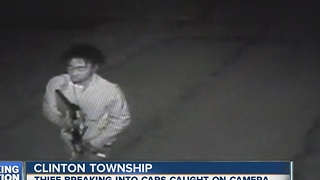 Thief caught on camera breaking into cars