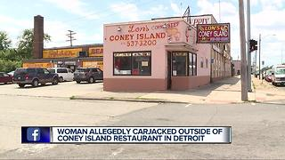 Woman reports carjacking after walking out of Detroit coney island
