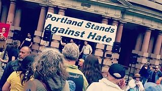 Opposing Protesters Gather at Portland City Hall - Video