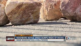 Drivers find speed bumps made out of rocks on Radwick Drive - Video