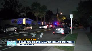 Thieves steal woman's backpack near San Diego State, run over her - Video