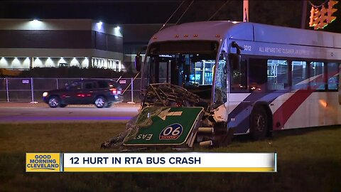 12 hurt in RTA bus crash on East 30th Street and Woodland