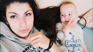 Adorable moment baby learns how make funny noise from his mother