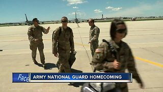 Families and friends welcome home Wisconsin Army National Guard soldiers