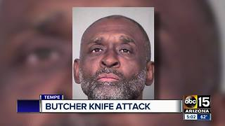 Man arrested for chasing a man with a butcher knife in Tempe - Video