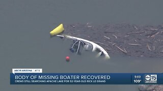 Body of missing boater recovered at Apache Lake