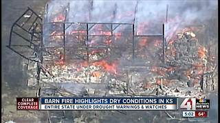 Barn fire highlights dry conditions in Kansas - Video