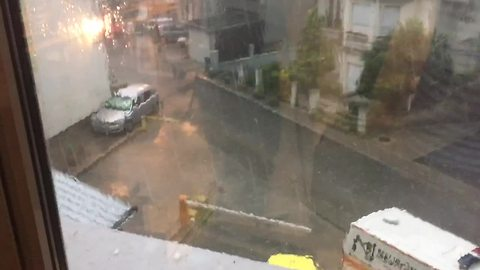 Intense hail storm captured on camera