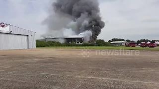 Huge fire at Southend Airport, UK