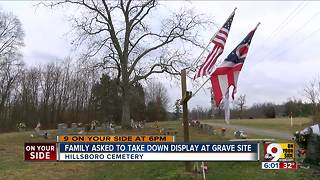Cemetery asks family to remove vet's display - Video