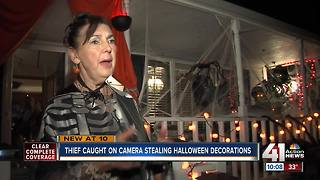 Thief caught stealing Halloween decorations - Video