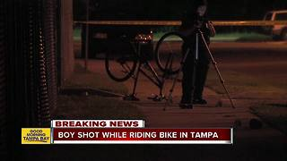 Teen shot while riding bike in East Tampa - Video