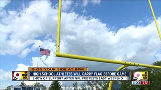 High school athletes will carry flag before game - Video