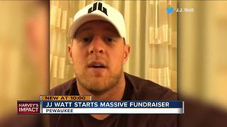 Former Wisconsin Badger J.J. Watt raising big money for Harvey flood victims