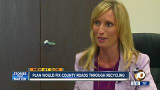 Plan would fix county roads throught recycling - Video