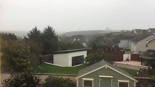 And There It Goes ... Trampoline Falls Victim to Ophelia - Video
