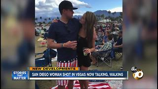 San Diego woman shot in Vegas now talking, walking - Video