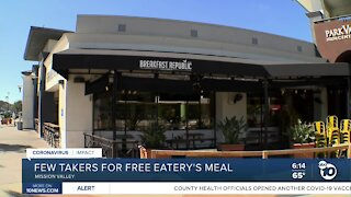 Few takers for San Diego restaurant free meals