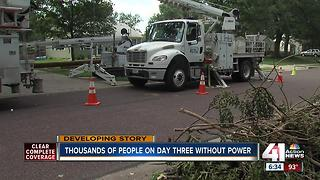 Thousands of people on day three without power
