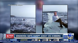 Grandmother rescued after picture on iceberg goes wrong