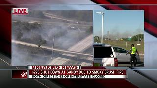 Brush fire shuts down I-275 & Gandy in St. Pete - Video