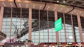 The Ceiling Collapsed at a Crowded Airport in China Because of Heavy Storms - Video